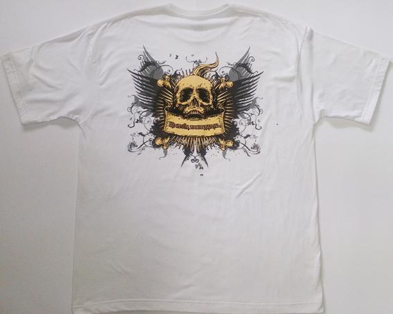 Белая футболка с рисунком. Шелкография