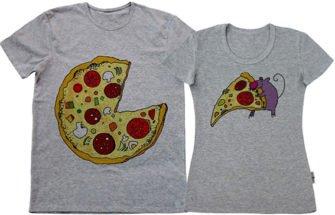 Цифровая печать на серых парных футболках